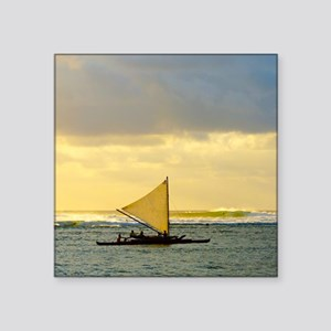 "Tropical Sunset Sail and Su Square Sticker 3"" x 3"""