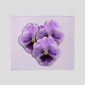 Purple Pansies Throw Blanket