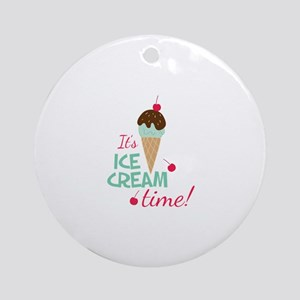 Ice Cream Time Round Ornament