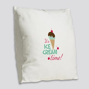 Ice Cream Time Burlap Throw Pillow
