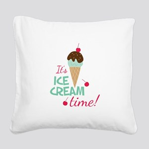 Ice Cream Time Square Canvas Pillow