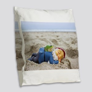 Napping Gnome Burlap Throw Pillow