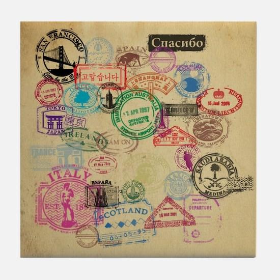 Vintage Passport Stamps Tile Coaster