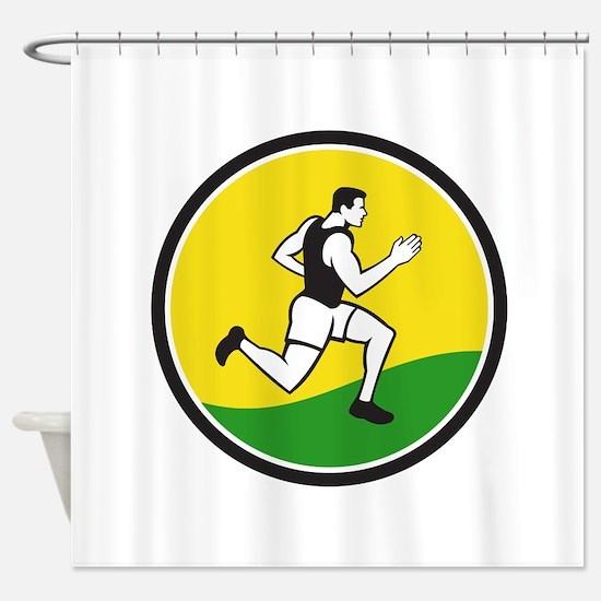 Marathon Runner Circle Retro Shower Curtain