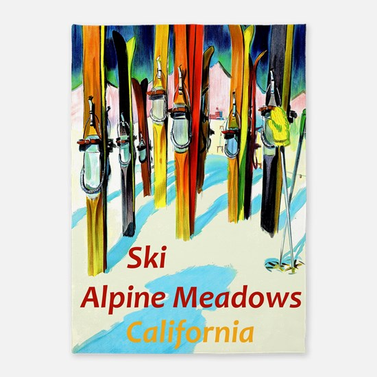 Ski Alpine Meadows California Travel 5'x7'Area Rug