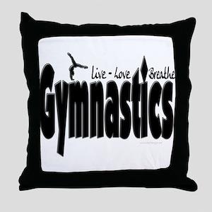 Live Love Breathe Gymnastics Throw Pillow