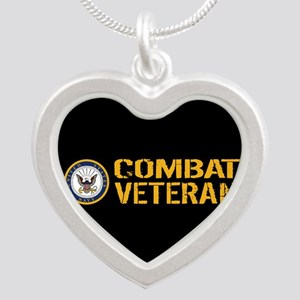 U.S. Navy: Combat Veteran (B Silver Heart Necklace