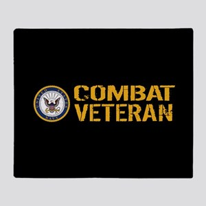 U.S. Navy: Combat Veteran (Black) Throw Blanket
