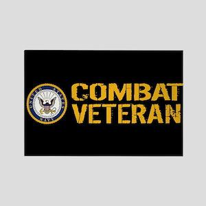 U.S. Navy: Combat Veteran (Black) Rectangle Magnet
