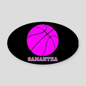 Pink Basketball Girls Oval Car Magnet