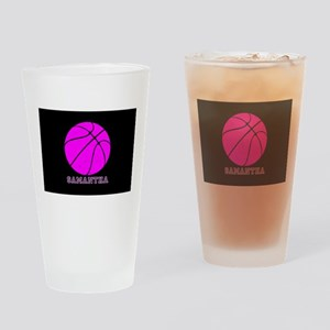 Pink Basketball Girls Drinking Glass
