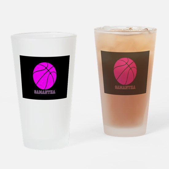 Pink Basketball Girls Drinking Glass