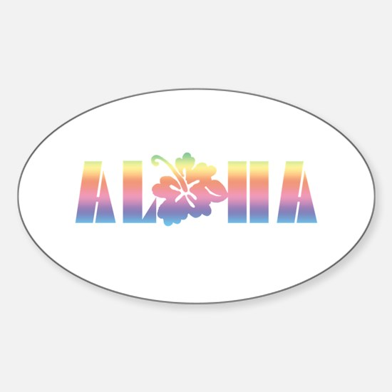 Aloha with Hibiscus Oval Decal