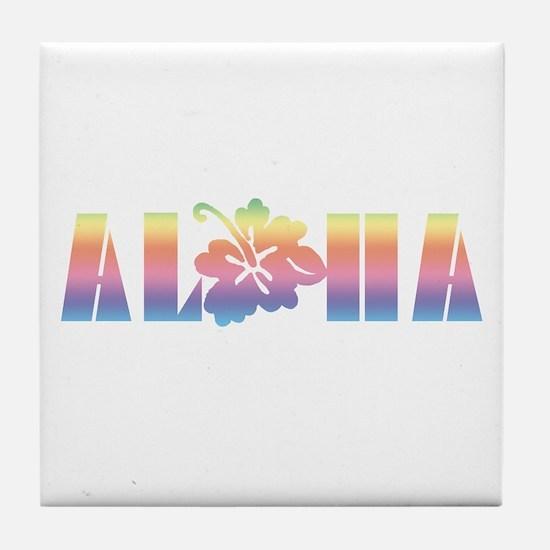 Aloha with Hibiscus Tile Coaster
