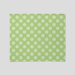 Light Green Polka Dots Throw Blanket