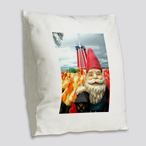 Windmill Gnome Burlap Throw Pillow