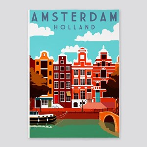 Amsterdam Holland Travel 5'x7'Area Rug