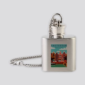 Amsterdam Holland Travel Flask Necklace