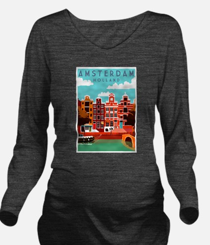Amsterdam Holland Travel Long Sleeve Maternity T-S