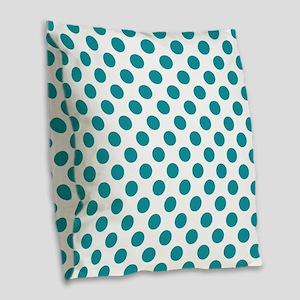 Aqua Blue Polka Dots Burlap Throw Pillow