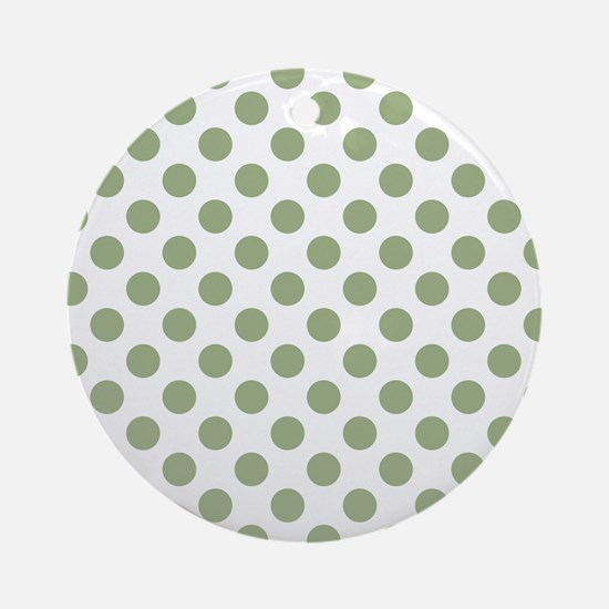 Sage Green Polka Dots Round Ornament