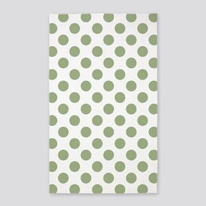 Sage Green Polka Dots Area Rug