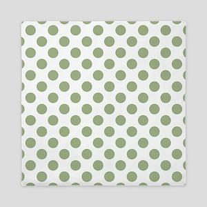 Sage Green Polka Dots Queen Duvet