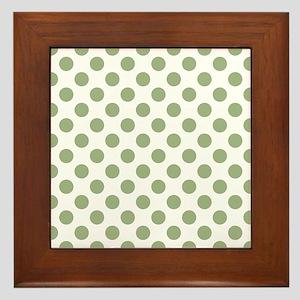 Wall Art Sage Green Polka Dots Framed Tile