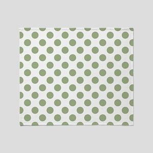 Sage Green Polka Dots Throw Blanket
