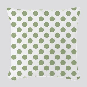 Sage Green Polka Dots Woven Throw Pillow