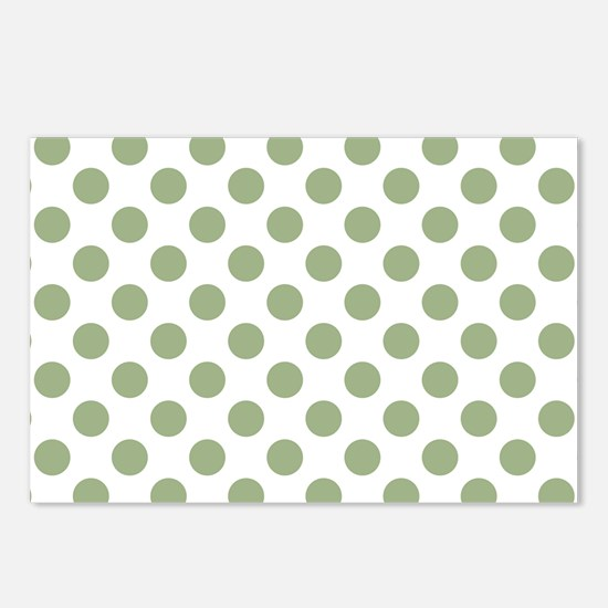 Sage Green Polka Dots Postcards (Package of 8)