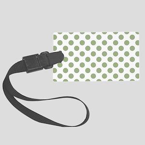 Sage Green Polka Dots Large Luggage Tag