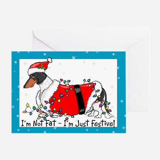 Piebald Santa Dachshund Greeting Card