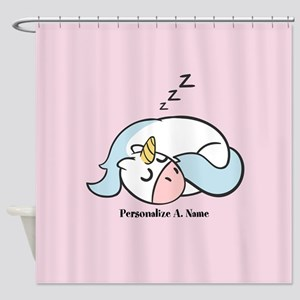 Cute Hand Drawn Sleeping Unicorn Shower Curtain