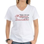Money Can't Buy Happiness Women's V-Neck T-Shirt