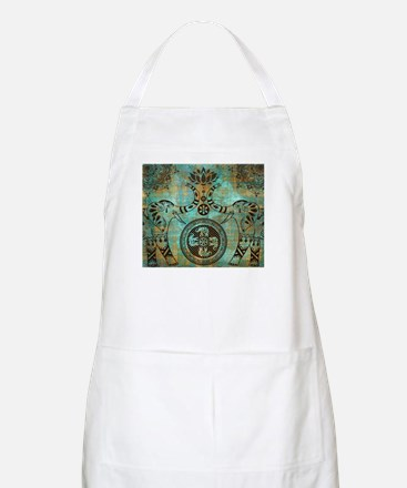 Elephants Lotus Flower Distressed Mand Light Apron
