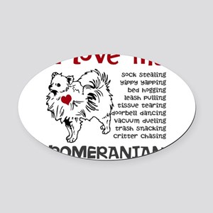 I love my my face pom Oval Car Magnet