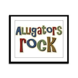 Alligators Rock Gator Reptile Framed Panel Print