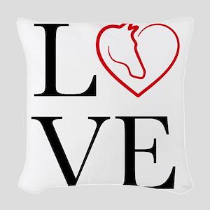 I Love horse riding Woven Throw Pillow