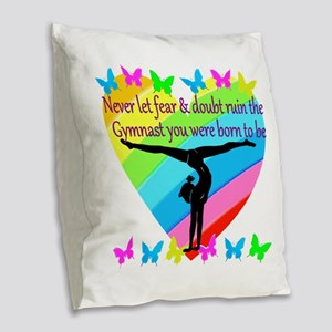 GYMNAST GOALS Burlap Throw Pillow