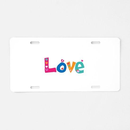 Cute Colorful Love Aluminum License Plate
