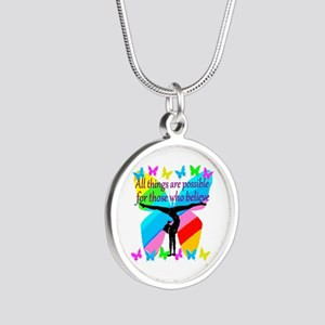 GYMNAST GOALS Silver Round Necklace