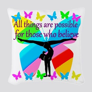 GYMNAST GOALS Woven Throw Pillow