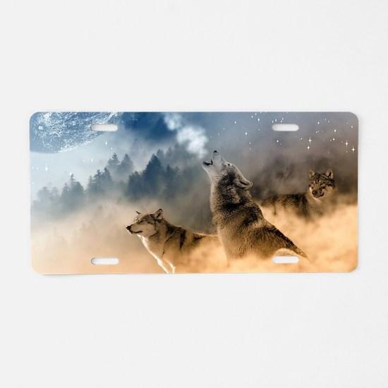 Unique Wolves Aluminum License Plate