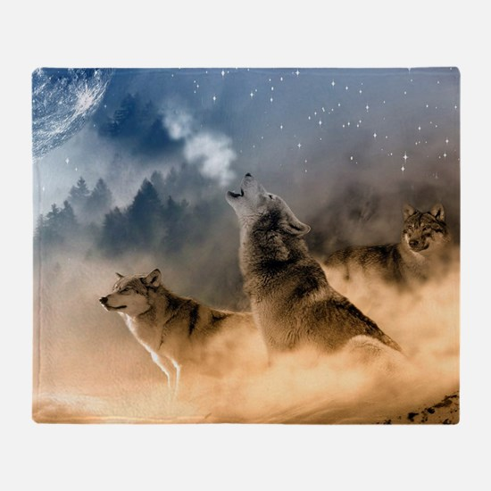 Cool Wolf Throw Blanket