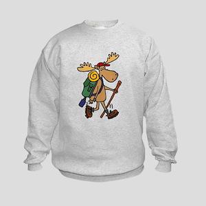 Moose Hiking Kids Sweatshirt