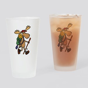Moose Hiking Drinking Glass
