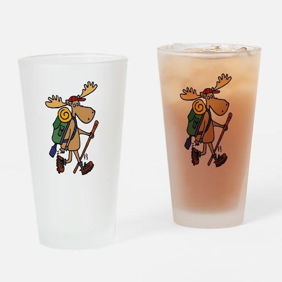 Moose Hiking Drinking Glass