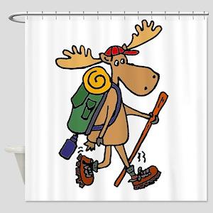 Moose Hiking Shower Curtain
