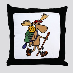 Moose Hiking Throw Pillow
